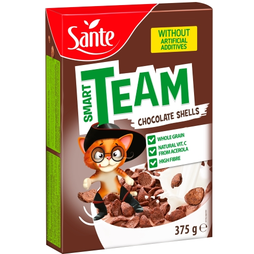 Breakfast cereal Smart Team chocolate shells 375g Sante