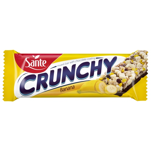 Chocolate-coated crunchy bar with bananas 40g