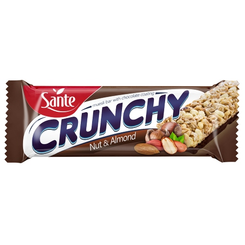 Chocolate-coated Crunchy Bar with nuts and almonds 40g